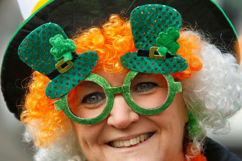 . A member of Romania\'s Irish community takes part at St. Patrick\'s Day parade in Bucharest on March 17, 2013. St. Patrick\'s Day was celebrated with a parade in Romania for the first time this year, organizers said. REUTERS/Bogdan Cristel