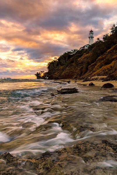 Fire Sky over Diamond Head Lighthouse