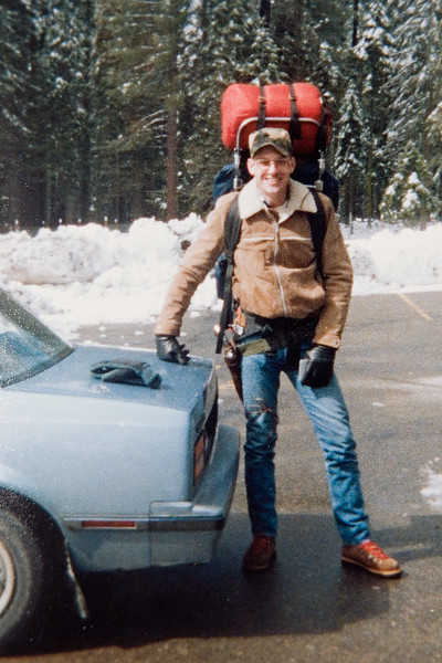 """Ben Reed and I on our first """"backpacking trip"""". Was started at the snowplay area parking lot near Wawona and """"hiked"""" a whopping 1/2 mile! We thought we hiked for miles due to the snow."""
