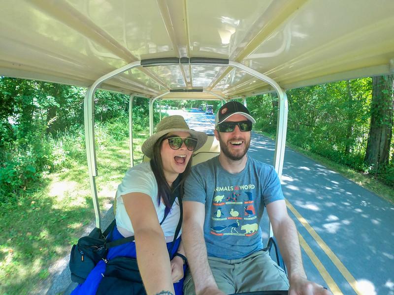 Riding in a golf cart on Kelleys Island
