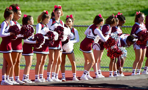 10/4/2019 Mike Orazzi | StaffrBristol Central High School cheerleaders on Friday.