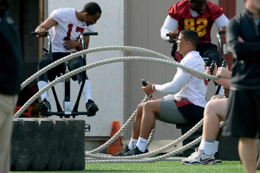 . USC players work the ropes on the sidelines during practice, Tuesday, March 25, 2014, at USC. (Photo by Michael Owen Baker/L.A. Daily News)