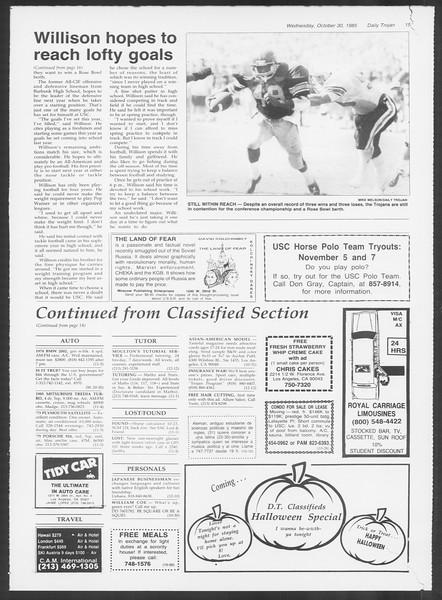 Daily Trojan, Vol. 100, No. 42, October 30, 1985