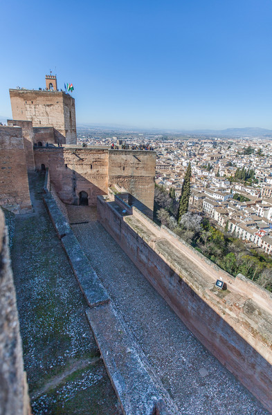 View of the city and outside walls of the Alcazaba fort/citadel at the Alhambra in Granada, Spain.