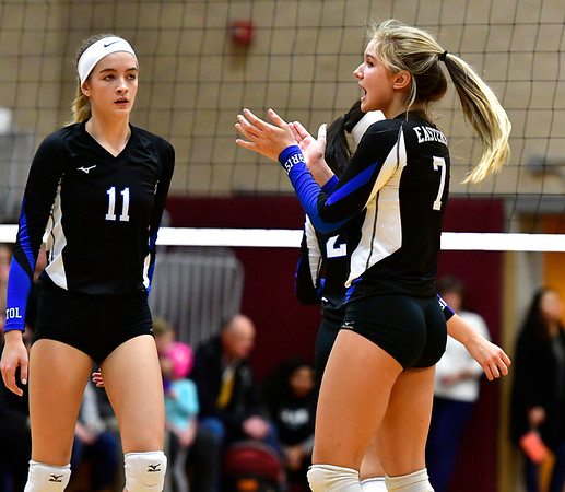 11/14/2018 Mike Orazzi | Staff Bristol Eastern's Ryley Plourde (11) and Zoe Lowe (7) during the Class L Semifinal State Girls Volleyball Tournament held at Windsor High School Wednesday night.