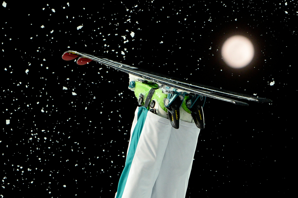 . Australia\'s Laura Peel competes in the Women\'s Freestyle Skiing Aerials finals at the Rosa Khutor Extreme Park during the Sochi Winter Olympics on February 14, 2014.    (FRANCK FIFE/AFP/Getty Images)