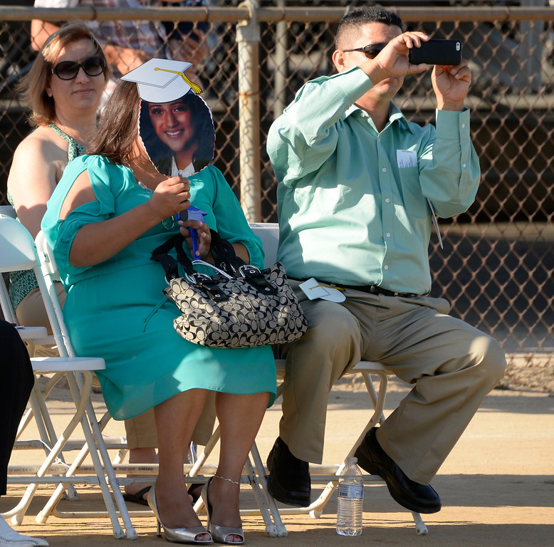 . June 5,2014. North Hills, California.Parents yell an cheer for their kids during the Monroe High graduating class of 2014. Photo by Gene Blevins/LA Daily News