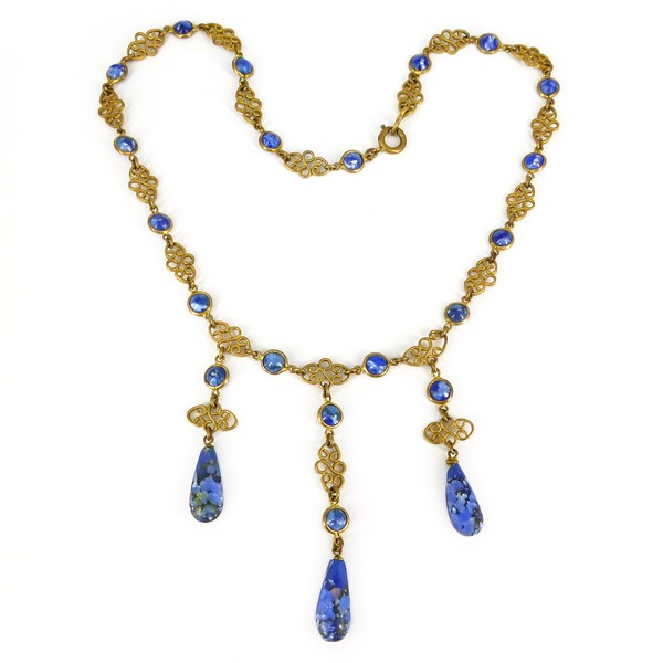 Antique Victorian French Ormolu Gold Mercury Plated Foiled Blue Glass Drop Necklace