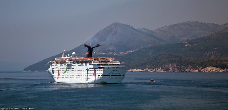 Cruise boat leaving Dubrovnik