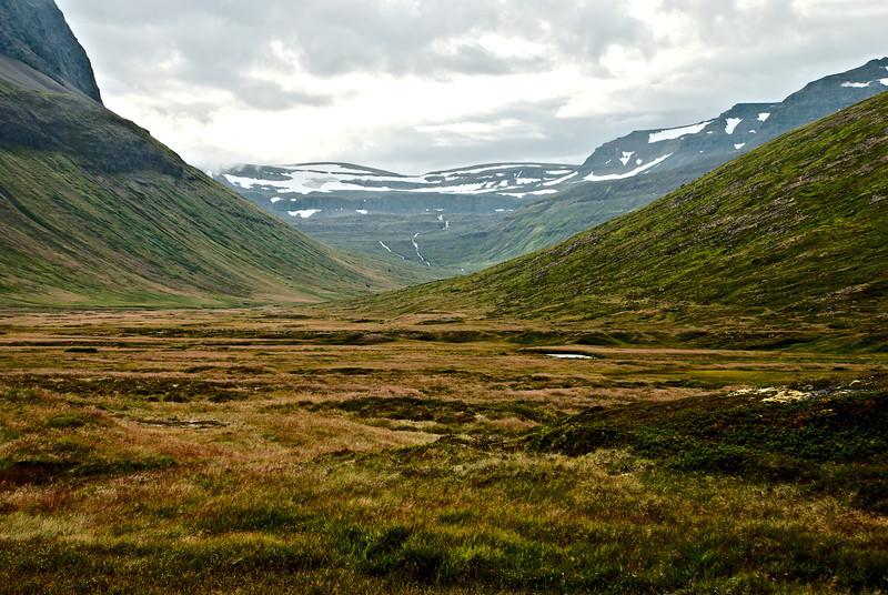 Horft inn Staðardal. Ofan við Staðardal er Jökladalur.