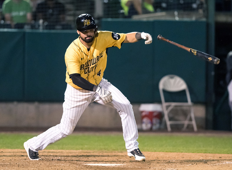 08/20/18  Wesley Bunnell | Staff  The New Britain Bees defeated the Road Warriors 8-6 in Atlantic League Baseball at New Britain Stadium on Monday evening. The bat flies out of Vincente Conde (4) during an at bat in the night inning.