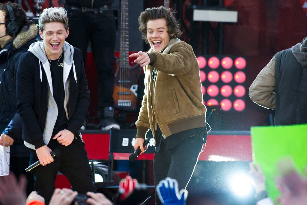 """. One Direction members, from left, Niall Horan and Harry Styles perform on ABC\'s \""""Good Morning America\"""" on Tuesday, Nov. 26, 2013 in New York. (Photo by Charles Sykes/Invision/AP)"""
