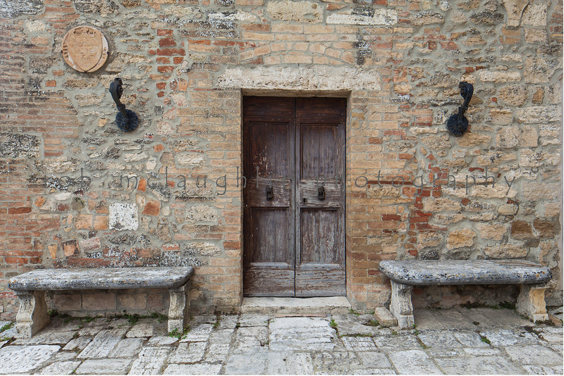 Door and Stone Benches , Lucignano d'Asso , Tuscany