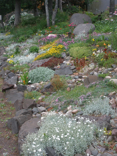 Garden by road at Orthodox Monastory on shore of Lake Superior