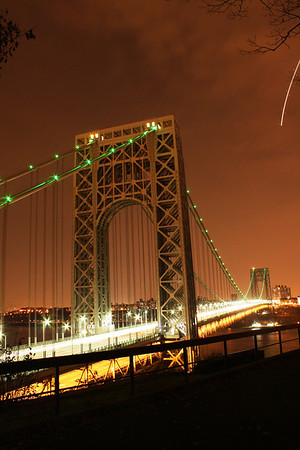 GWB Lit up Green in November for the Girl Scouts of America 100th Anniversary 11-20-11