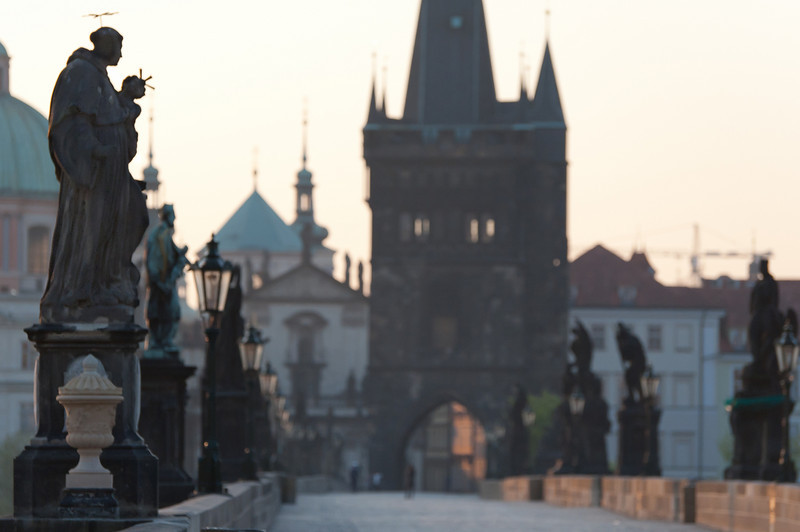 Row of statues along the Charles Bridge in Prague, Czech Republic
