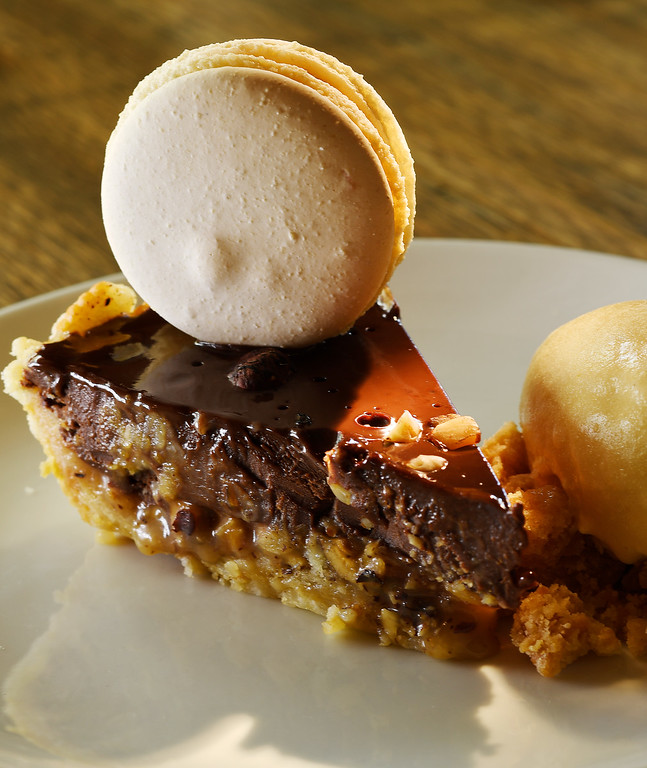 . DENVER, CO - APRIL 21:  Pastry chef Claire Fields\'  Chocolate Hazelnut Pie, with Ritz cracker crust, salted caramel ice cream at Grind Kitchen + Watering Hole in Cherry Creek North  in Denver on Thursday, April 21, 2016. (Photo by Cyrus McCrimmon/ The Denver Post)