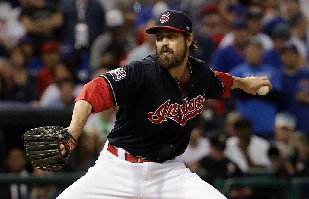 . Cleveland Indians relief pitcher Andrew Miller throws during the fifth inning of Game 7 of the Major League Baseball World Series against the Chicago Cubs Wednesday, Nov. 2, 2016, in Cleveland. (AP Photo/David J. Phillip)