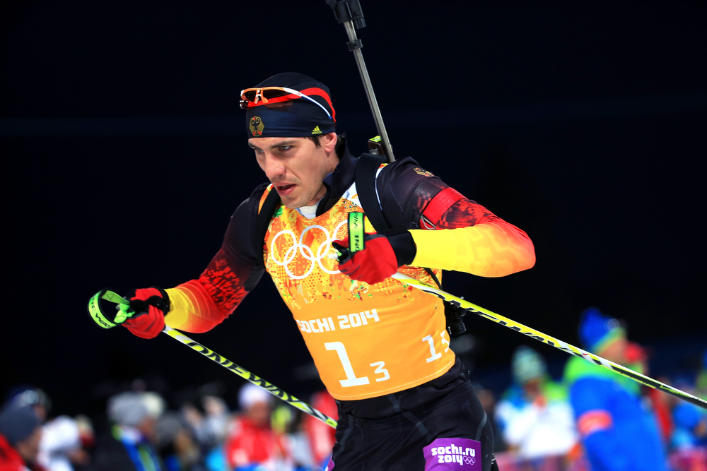 . Arnd Peiffer of Germany competes during the Men\'s 4 x 7.5 km Relay during day 15 of the Sochi 2014 Winter Olympics at Laura Cross-country Ski & Biathlon Center on February 22, 2014 in Sochi, Russia.  (Photo by Richard Heathcote/Getty Images)