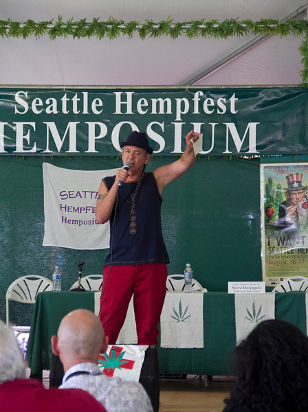 Steve DeAngelo of Harborside Medical Center in California speaks on Hemposium Stage at Seattle Hempfest 2013.  Photo by Janis Marie