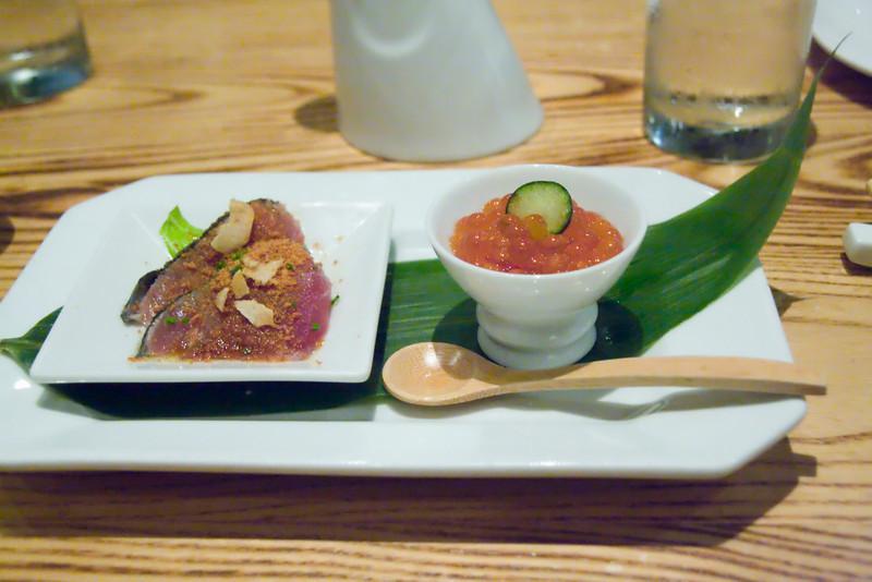 tuna sashimi with bonito flakes and ikura