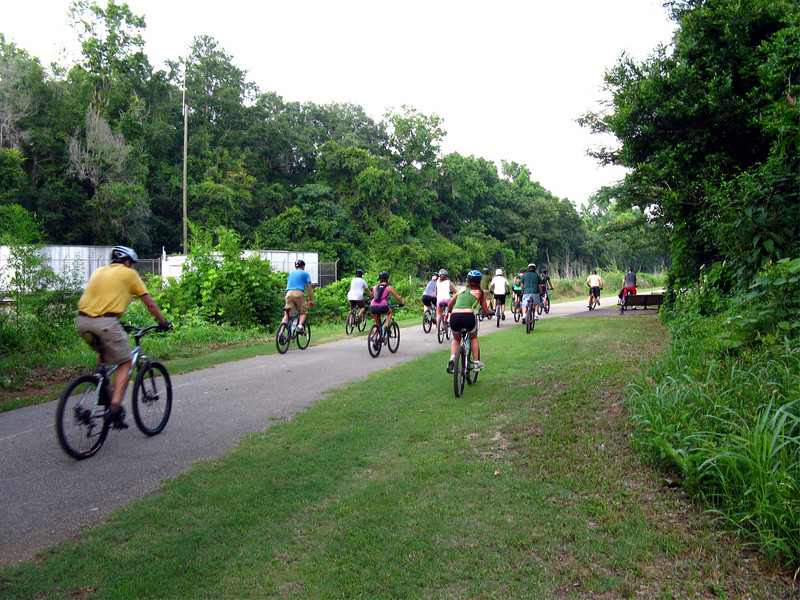 The group rides the north boundary of Tom Brown Park on Goose Pond Trail.