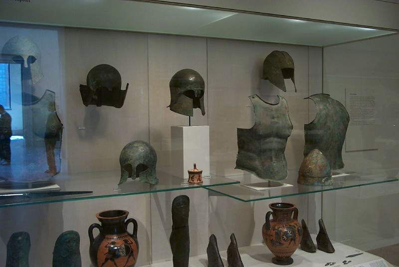 Greek armor on exhibit at the Metropolitan Museum of Art in New York City
