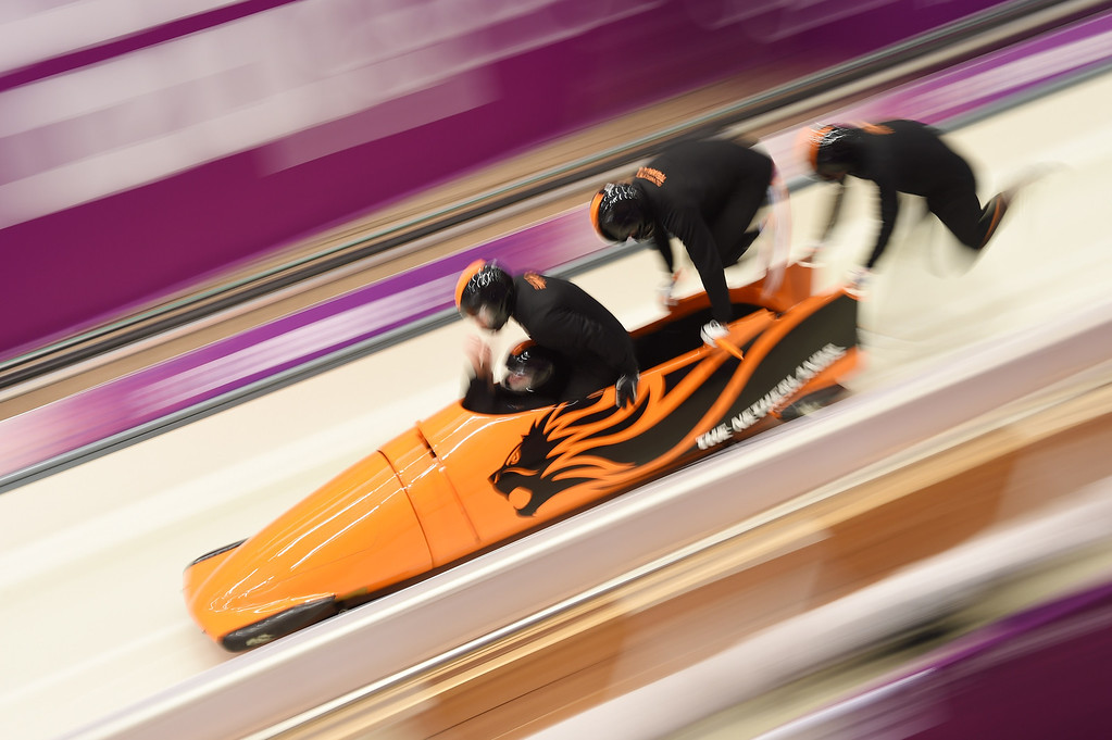 . Netherlands-1 four-man bobsleigh, steered by Edwin van Calker takes part in the first four-man Bobsleigh official training during the Sochi Winter Olympics at the Sanki Sliding Center on February 19, 2014. LEON NEAL/AFP/Getty Images