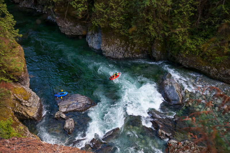 Packrafting the Chehalis River, British Columbia, Canada.