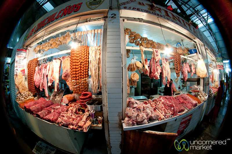 Fisheye of Meat Butchers - Oaxaca, Mexico