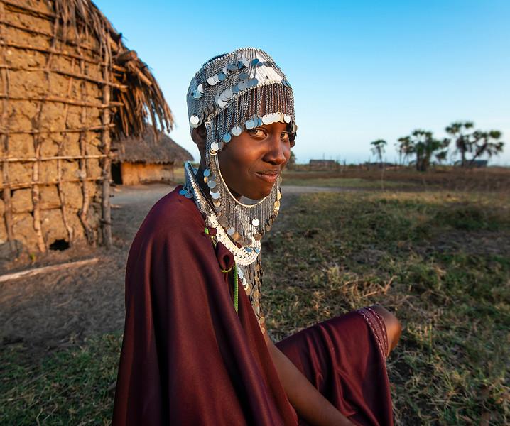 Portrait of a young Masai woman.  Tanzania, 2019.