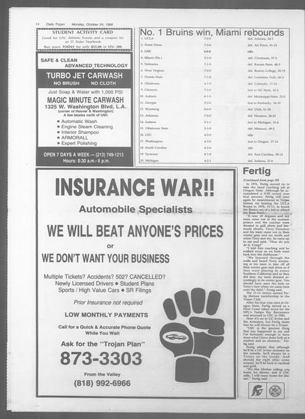 Daily Trojan, Vol. 107, No. 34, October 24, 1988