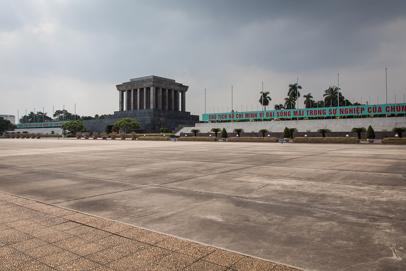 A wide angle showing the parade grounds in front of Ho Chi Minh's Mausoleum.