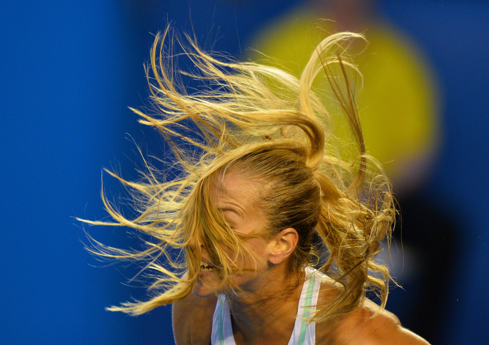 . Slovakia\'s Dominika Cibulkova serves against China\'s Li Na during the women\'s singles final on day 13 of the 2014 Australian Open tennis tournament in Melbourne on January 25, 2014. (SAEED KHAN/AFP/Getty Images)