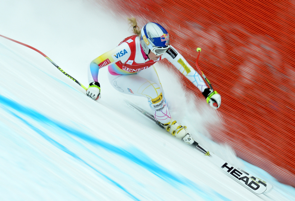 . This picture taken on December 1, 2012 shows Lindsey Vonn of the US competing in the women\'s Alpine Skiing World Cup downhill in Lake Louise. US Lindsey Vonn won the downhill globe on March 13, 2013 after the World Cup downhill finals was cancelled due to the weather in Lenzerheide.  JOE KLAMAR/AFP/Getty Images