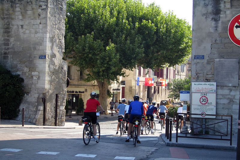 Entering the walled city of Avignon