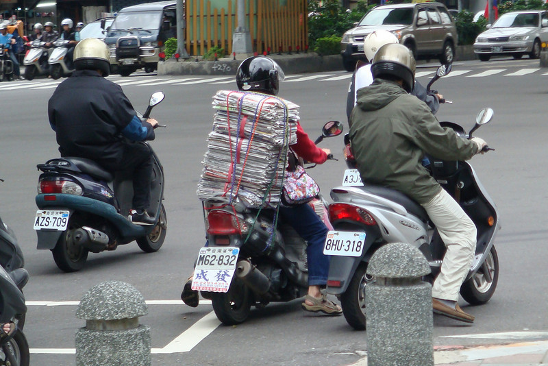 Newspapers on scooter in Taipei, Taiwan
