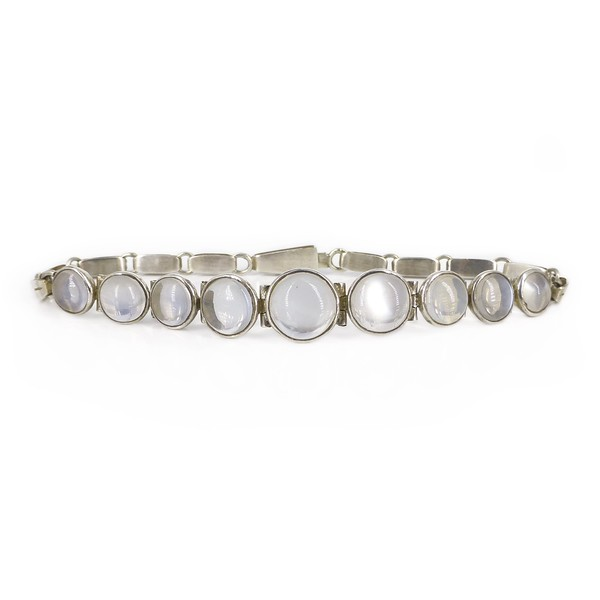 Vintage Mid Century Solid Silver Moonstone Cabochon Bracelet