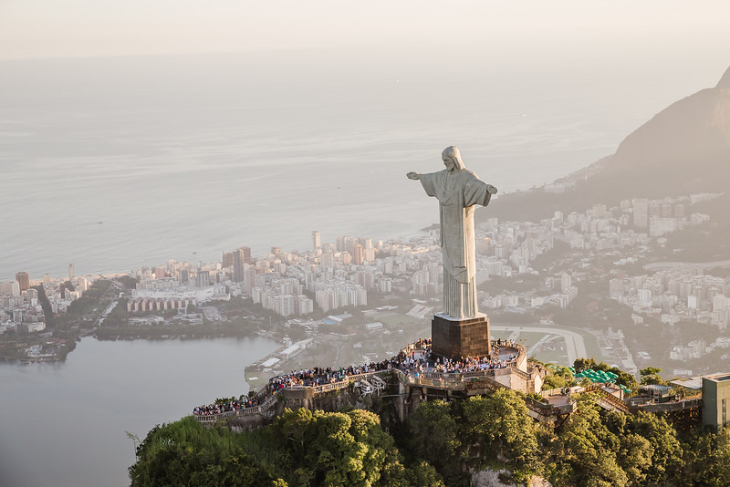 Christ the Redeemer from a helicopter