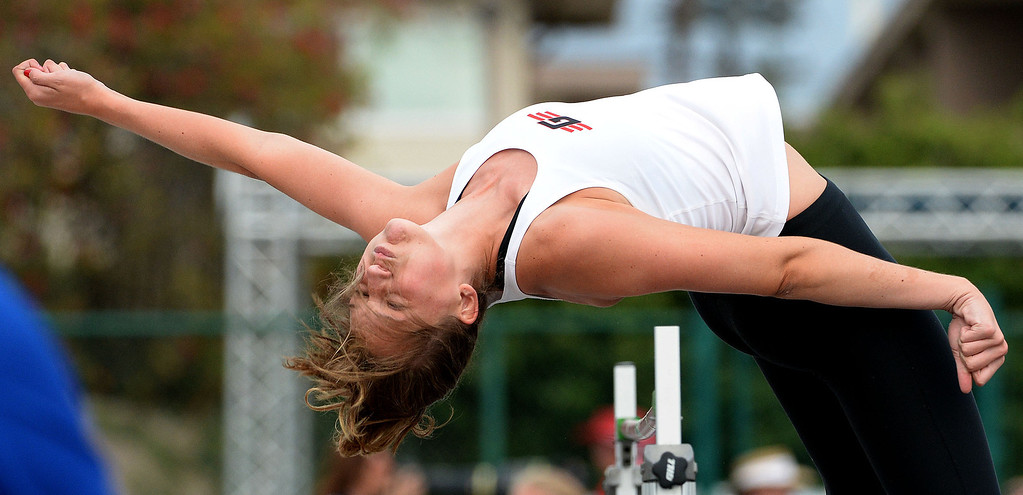 . Glendora\'s Sidney Pink competes in the division 2 high jump during the CIF Southern Section track and final Championships at Cerritos College in Norwalk, Calif., Saturday, May 24, 2014.   (Keith Birmingham/Pasadena Star-News)