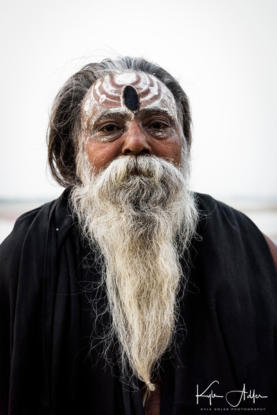 A sadhu (holy man) on the banks of the Ganges River.