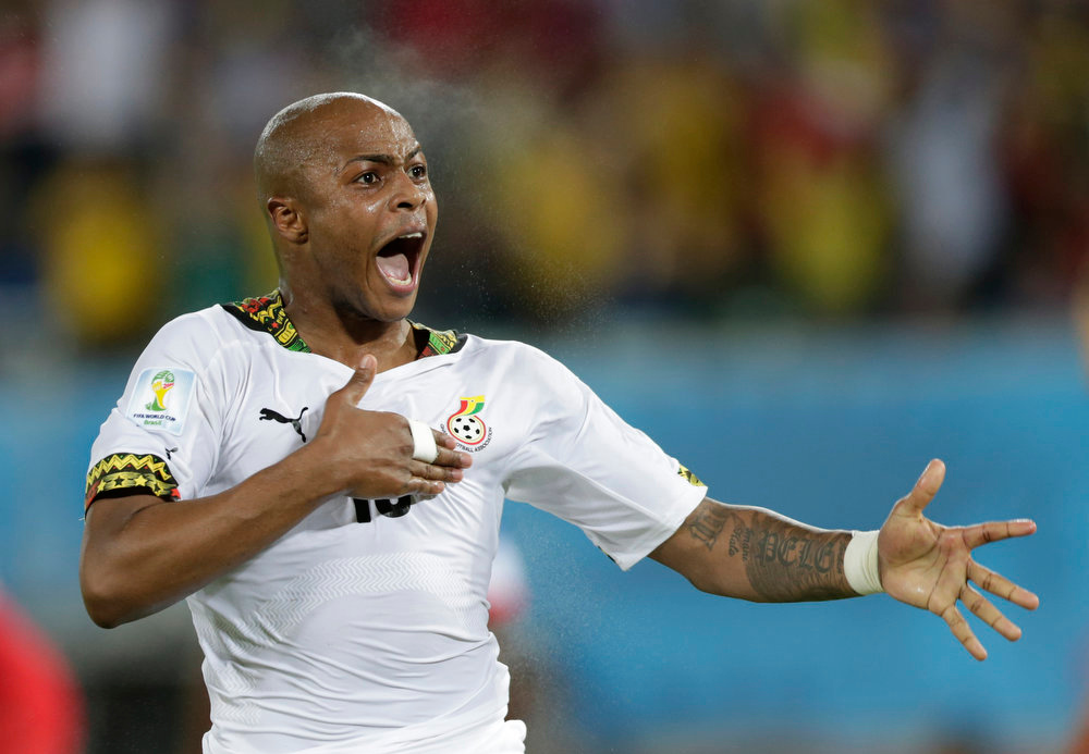 Description of . Ghana's Andre Ayew celebrates after scoring his sides first goal during the group G World Cup soccer match between Ghana and the United States at the Arena das Dunas in Natal, Brazil, Monday, June 16, 2014.  (AP Photo/Dolores Ochoa)