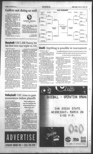 Daily Trojan, Vol. 142, No. 45, March 27, 2001