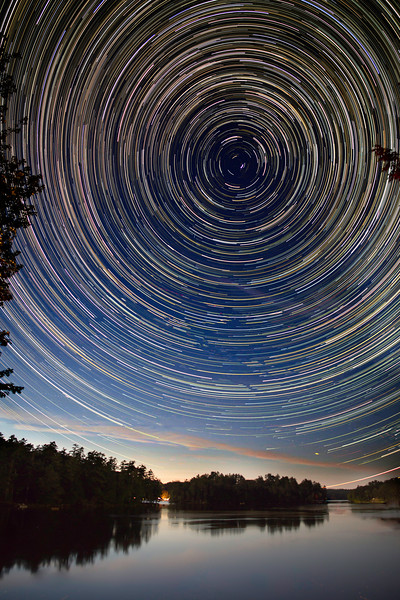 Star trails looking north over Damariscotta Lake, Maine