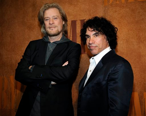 . FILE - In this May 20, 2008 file photo, Daryl Hall, left, and John Oates pose together before the 56th annual BMI Pop Awards in Beverly Hills, Calif. Nirvana, Linda Ronstadt, Peter Gabriel, Hall and Oates, and The Replacements are among first-time nominees to the Rock and Roll Hall of Fame. The hall of fame announced its annual list of nominees Wednesday morning, Oct. 16, 2013, and half the field of 16 were first-time nominees. (AP Photo/Chris Pizzello, file)