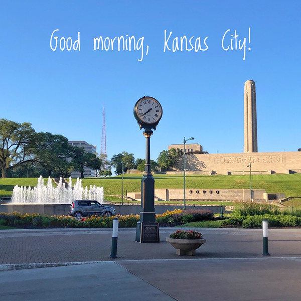 Clock, fountain, and WWI Museum from Union Station in Kansas City, Missouri