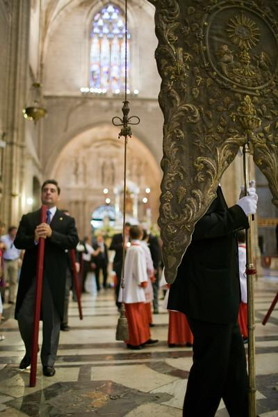 Corpus Christi procession inside Santa Maria de la Sede Cathedral, Seville, Spain, 2009.