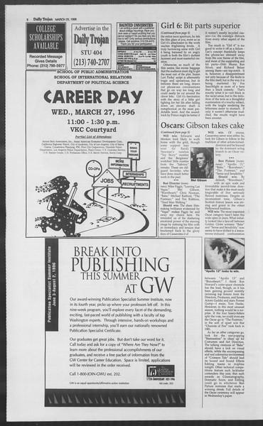 Daily Trojan, Vol. 127, No. 43, March 25, 1996