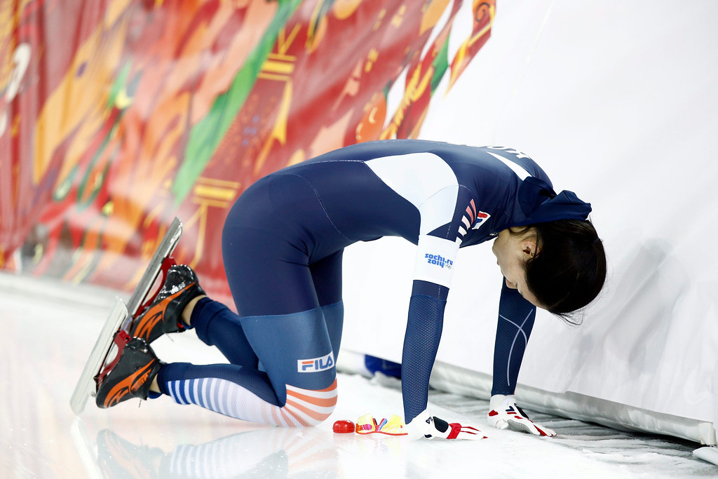 . Bo Ra Lee of South Korea reacts after  the 1000m Women\'s  Speed Skating event in the Adler Arena at the Sochi 2014 Olympic Games, Sochi, Russia, 13 February 2014.  EPA/VINCENT JANNINK