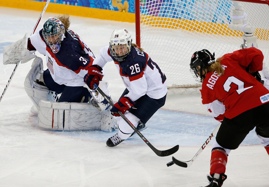 . Meghan Agosta-Marciano of Canada shoots the puck past Kendall Coyne (26) and USA Goalkeeper Jessie Vetter for a goal during the third period of the 2014 Winter Olympics women\'s ice hockey game at Shayba Arena, Wednesday, Feb. 12, 2014, in Sochi, Russia. (AP Photo/Petr David Josek)